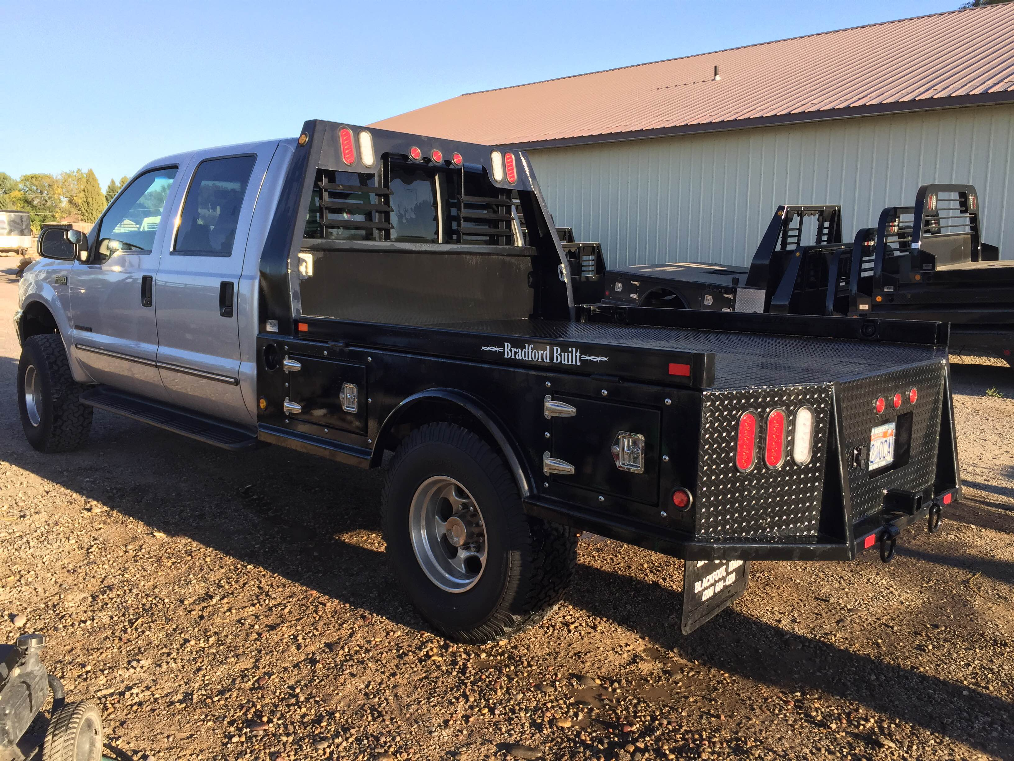 Bradford Built Flatbed 4 Box Steel Used Gooseneck Trailers Wiring Harness On Boxes Capacity Recessed Ball Receiver Type Bumper Hitch With D Rings Headache Rack Lights Mud Flaps Lighted License Plate Mount